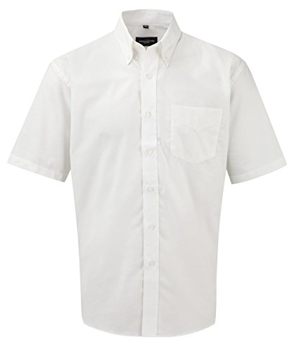Russell Collection Men's Easy Care Oxford Short Sleeve Shirt White 18