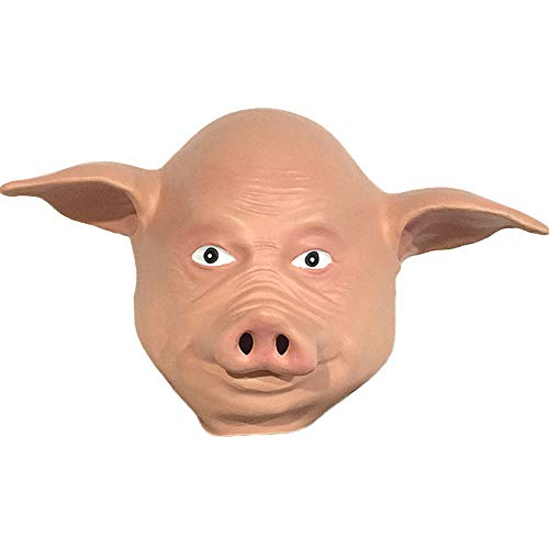 QIAO Halloween Props Cute Pig Head Animal Mask Decoration Cosplay Party Tidy Latex Props Costume Ball Headgear (Color : A) ()