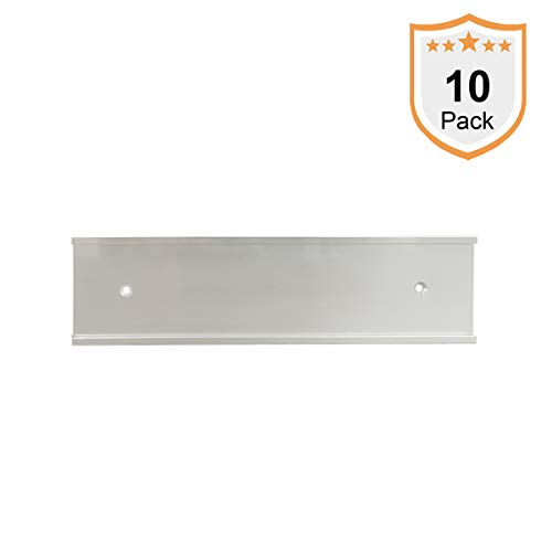 Nameplate Holder - Wall or Door - Silver 8 x 2 (10) (Holders Wall Plate Name 2x10)
