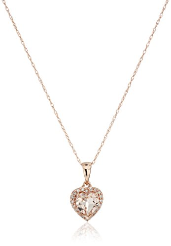 Necklace Gold Diamond Womens (10k Rose Gold Morganite Heart and Diamond Pendant Necklace (1/10cttw,H-I Color, I1-I2 Clarity), 18