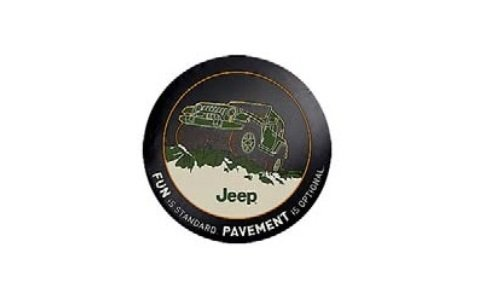 Genuine Jeep Accessories 82210885AB Cloth Spare Tire Cover with Fun is Standard Emblem Logo (Standard Wheel Cover Emblem)