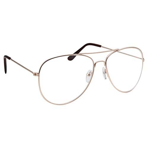 grinderPUNCH New Non-Prescription Premium Aviator Clear Lens Glasses Gold ()