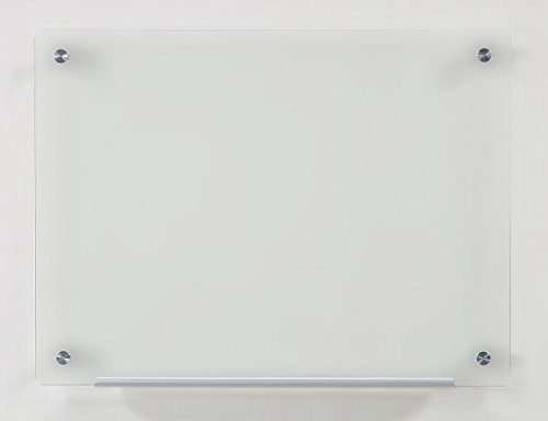 """Frosted Glass Dry-Erase Board - 17 3/4"""" x 23 5/8"""" - Includes Board and Aluminum Marker Tray"""