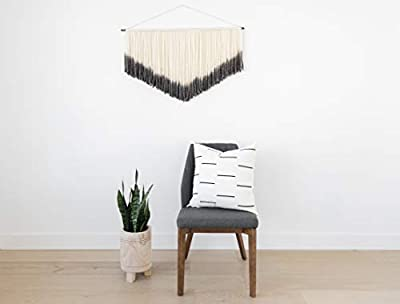 Woven Nook Decorative Throw Pillow Covers ONLY Set of 2 20 x 20'' for Couch, Sofa, or Bed Set of 2 20 x 20'' inch Modern Quality Design 100% Cotton Black and White Omi