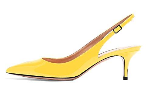 Sexy Grande Femme Aiguille Taille Slingback de 6 Jaune Pointus Sandales Haut 5CM ELASHE Escarpins Talon Chaussures qOBSxttw