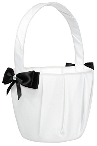 Traditional Wedding Ceremony Accessories White with Black Bow and Gems Flower Basket Party Supply, Fabric, 8
