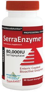 Serra Enzyme 80,000IU Serrapeptase (90 Quad-Strength Tablets) (90 Enzymes Proteolytic Tablets)