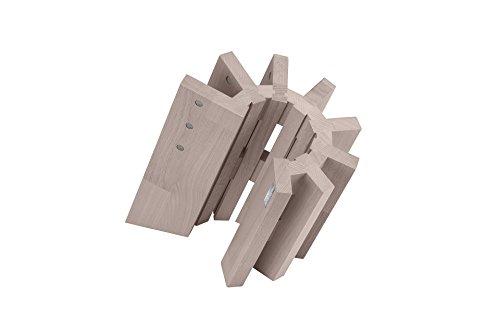 Artelegno 51/W Pisa Magnetic Knife Block, Solid Beech Wood Whitewashed Finish by Arte Legno