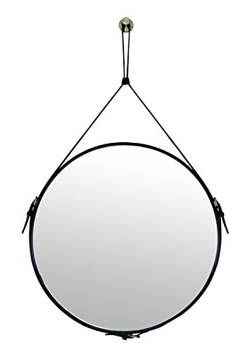 Black Leather Mirror - Ms.Box Faux Leather Round Wall Mirror Decorative Mirror with Hanging Strap, Diameter 19.7 inch, Black