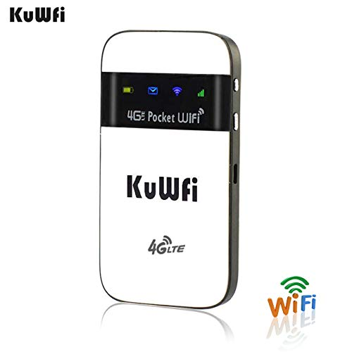 KuWFi 4G LTE Pocket WiFi Router Unlocked LTE 4G Mobile WiFi Hotspot Portable 4G Router with sim Card Slot Goods for Travel and Business Trip Support LTE FDD B1/B3/B5 EU Version