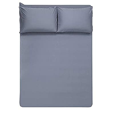 Image of 4 Piece Farmhouse Blue Gray Cotton Sheets, Beautiful Weave Solid Color Pattern Silky Soft Comfortable Warm Bed Sheets Queen, Winkle Stain Resistant Deep Pocket Fitted Sheet Farmhouse Bedding Home and Kitchen