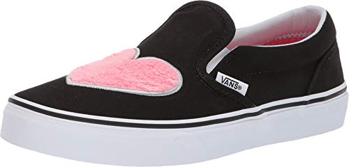 Vans Kids K Clasic Slip ON Fur Heart Strawberry Pink BLK Size 2 ()