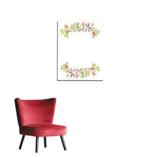 longbuyer Corridor/Indoor/Living Room Poppy Watercolor Flower Arrangement Rectangle Frame Mural 32
