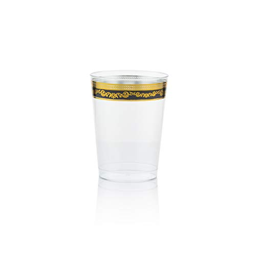 Posh Setting Royal Collection Clear Plastic 10 oz. Tumblers (Cups) with Gold/Black Design 40 Pack for $<!--$18.99-->