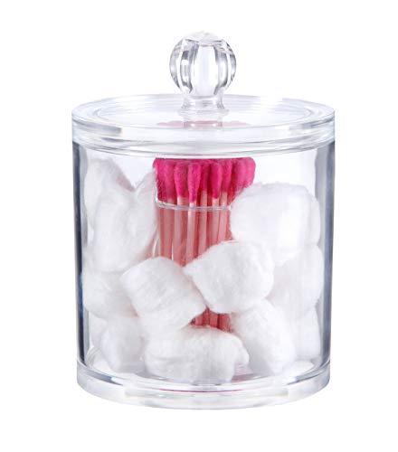 PuTwo Makeup Organizer Bathroom Storage Multifunction Organizer Cotton Balls and Cotton Buds Holder -  Small Round ()