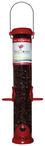 Duncraft Accent - Droll Yankees BL15RS Bird Lovers 15-Inch Sunflower /Mixed Seed Feeder with Red Accents
