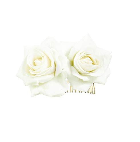 - Ever Fairy Rose Flower Hair Clip Slide Flamenco Dancer Pin Flower Brooch Lady Hair Styling Clip Hair Accessories (White)