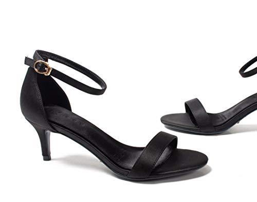 Une Kphy Noir Talons Chaussures De seven Simples Hauts Mot Profondeur Sandales t Boucle Bas 5 Cm Thirty En wO1rxI8qO