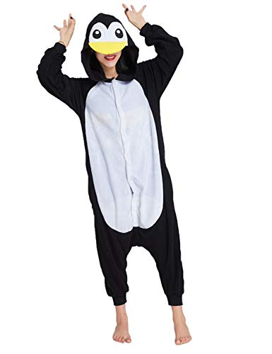 Animal Pajamas for Women Men Adult Onesie Unisex Sleepwear Halloween Cosplay Costume (M, Penguin) -