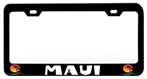 MAUI Palm Tree Black Steel Metal License Plate Frame Auto Car SUV Tag Holder