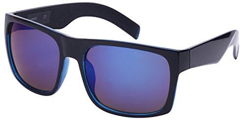 Edge I-Wear Men's Big and Tall Square Frame Sunglasses 540987-REV-4 (BLK-BU, - 2016 Sunglasses Hiking