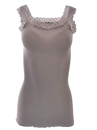 (BASIC COTTON Free Spirit Premium Quality 100% Cotton Women's Lace Trim Tank Top. Proudly Made in Italy. (S/M, Sabbia))