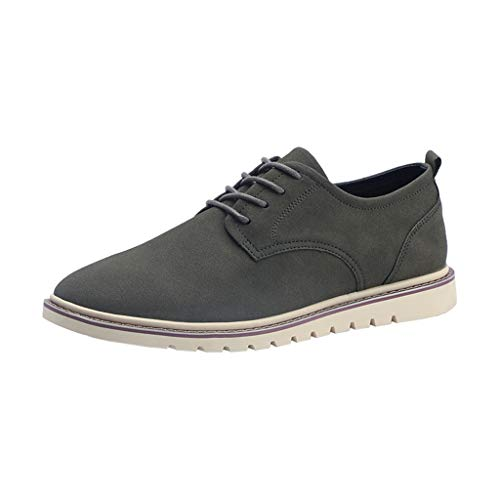 Men's Classic Oxford Suede Dress Shoes Casual Lace up Outdoor Walking Hiking Shoes Green ()