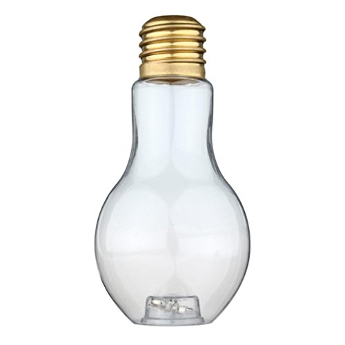 Sumen New Clear Light Bulb Shape Plant Flower Vase Hydroponic Container Bottle (Gold)