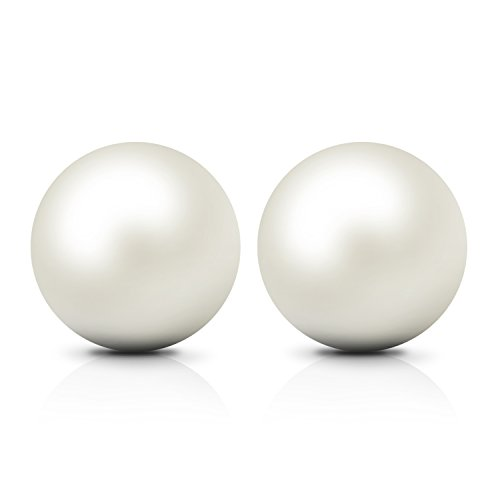 9mm Cultured Freshwater Pearl Earrings - JewelryPalace 6-10mm Freshwater Cultured Pearl Button Ball Stud Earrings 925 Sterling Silver
