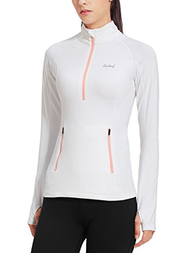 - Baleaf Women's Thermal Fleece Half Zip Thumbholes Long Sleeve Running Top White Size L