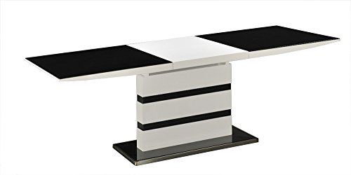 Furniture Mill Outlet Arctic Black Glass White High Gloss