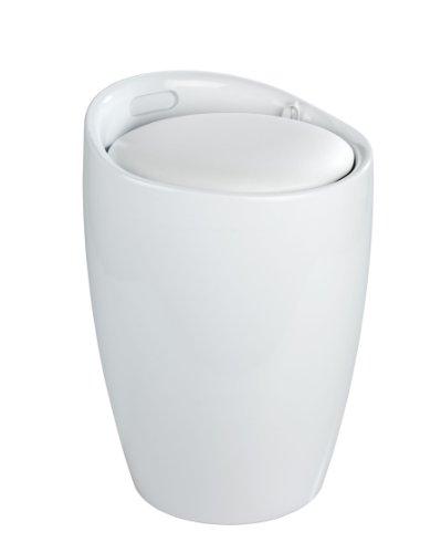 WENKO 20631100 Hocker Candy White - Badhocker, mit abnehmbarem Wäschesack(100 % Polyester), Kunststoff - ABS, 36 x 50.5 x 36 cm, Weiß