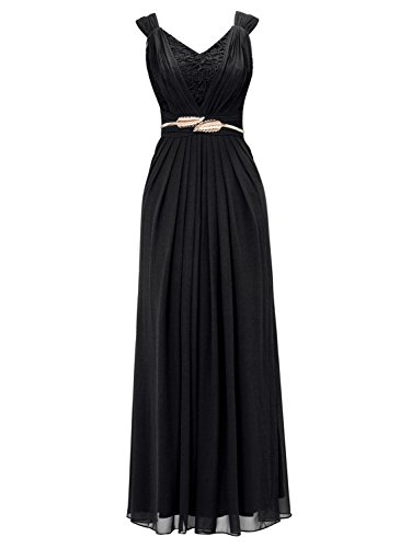 Tanpell Womens Double V Neck Pleats Ribbon Lace Floor Length Evening Formal Dresses Black US10