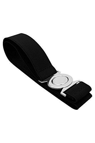 Black Butterfly 1 Inch Elastic Round Buckle Waist Belt (Black, US 18 - 20)