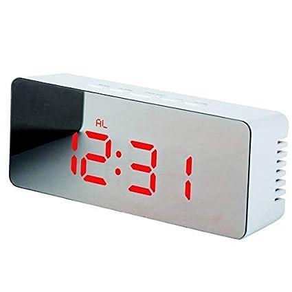 CJX Press Espejo LED Reloj Despertador Reloj de Sobremesa Digital Mesa de Despertar Luz Electrónica Pantalla