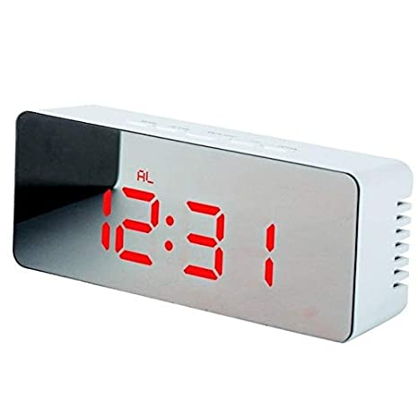 CJX Press Espejo LED Reloj Despertador Reloj de Sobremesa Digital Mesa de Despertar Luz Electrónica Pantalla de Temperatura de Tiempo Grande Reloj de ...