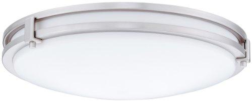 Lithonia Lighting FMSATL 13 14830 BN M4 LED Saturn Flushmount Ceiling Light Fixture for Kitchen | Hallway | Bedroom, Dimmable, 3000K, Antique Brushed Nickel