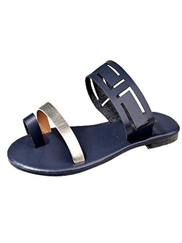 Briskorry Zapatos Moda Dedos de Las Mujeres Romanas Sandalias Planas Zapatillas Casual Sandalia Verano Leather Footbed Beach Sandal: Amazon.es: Ropa y ...