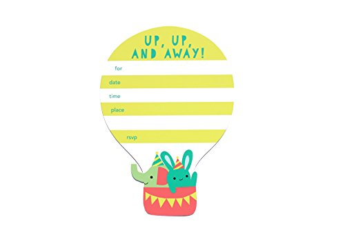 (Up Up and Away - Invitation Card Set | Cloud, Rain, Rainbow, Hot Air Balloon, Sky, Sunshine Set of 8 Cards | Baby Shower, Graduation, Birthday Invite)