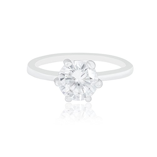18k White Gold Plated Cubic Zirconia Round Solitaire Engagement Ring ORROUS & CO Legacy Collection