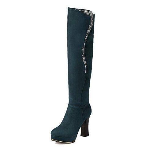 AllhqFashion Damen Eingelegt Spitz Zehe Reißverschluss Stiefel mit Beschlagene Strass, Schwarz, 43