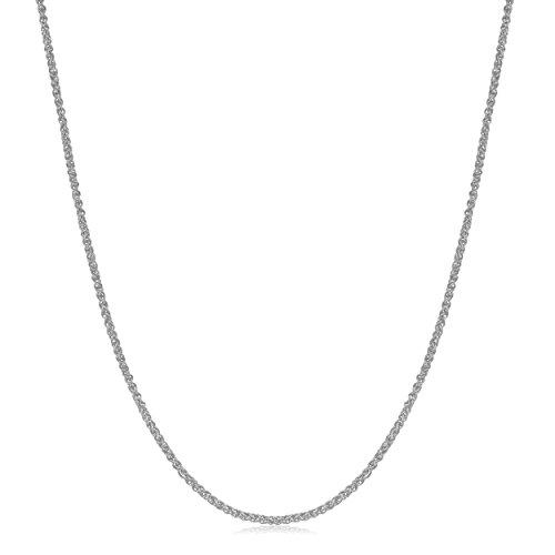 Kooljewelry 18k White Gold 0.8 mm Round Wheat Chain Necklace (20 inch) (Gold Chain 18k Wheat White)