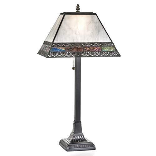 J Devlin Lam 666-3 TB Tiffany Stained Glass Mission Table Lamp Grey Opalescent with Purple Blue Green Streaky Mix Desk