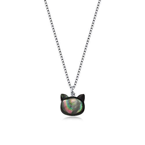 ISAACSONG.DESIGN I's Vintage Steampunk Style Lucky Cat Kitty Glass Pendant Necklace for Women (Black Cat)