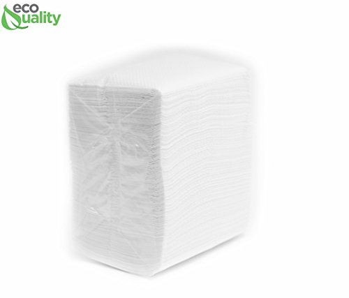EcoQuality Low Fold Dispenser Napkins, 1-Ply, 3 1/2 x 5, White 400/pk, Dispenser Napkin Refill, Everyday Napkins, Perfect for Restaurants, Diners, Bodegas & Home -