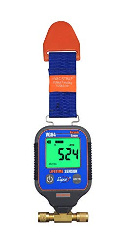 Supco VG64   Vacuum Gauge, Digital Display, 0-12000 microns Range, 10% Accuracy, 1/4' Male Flare Fitting Connection