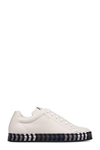 FENDI MEN'S 7E1022SN8F0TW2 WHITE LEATHER SNEAKERS (Fendi Mens Sneakers)