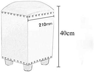 Tabouret De Salon Table Basse Tabouret Imperméable Rugged (cuir Ciré À L'huile), Rivets Cloutés À La Main (couleur: Bleu Marine)