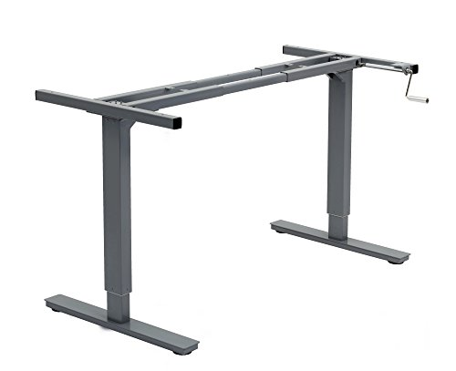 Canary Products ABC256GR Height Adjustable Crank Desk Frame, Tabletop Not Included, 45 Inch Max, Grey Back Adjustable Height Removable Desk