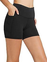 "Women's 8"" /5"" /2"" High Waist Workout Yoga Running Compression Shorts Tummy Control Side Pockets"